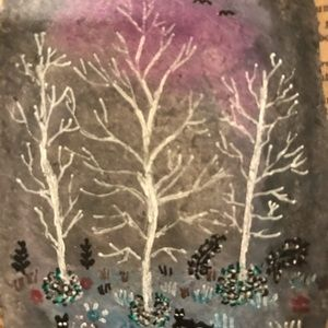 """Original Painting Aceo forest and cats 2.5""""x3.5"""""""